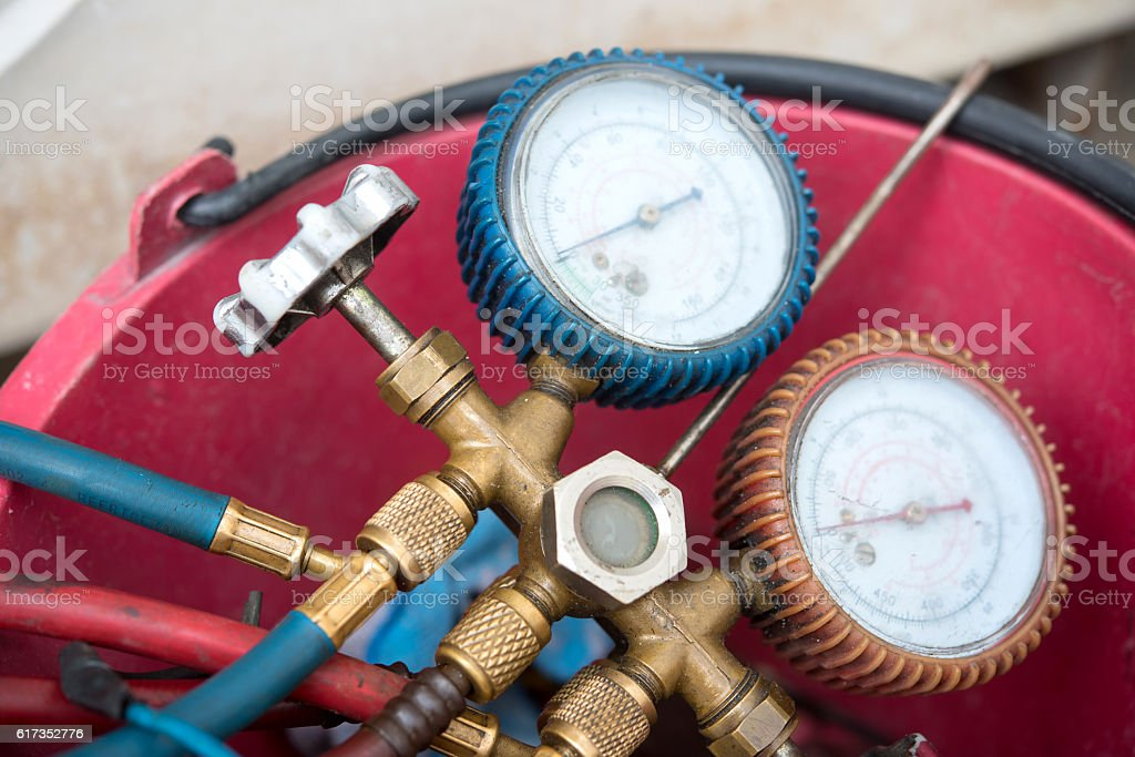 datail of Air Conditioning Tinstallation equipment stock photo