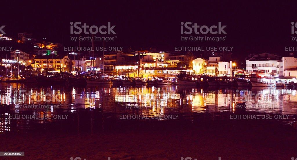 Datca гавань ночь Стоковые фото Стоковая фотография