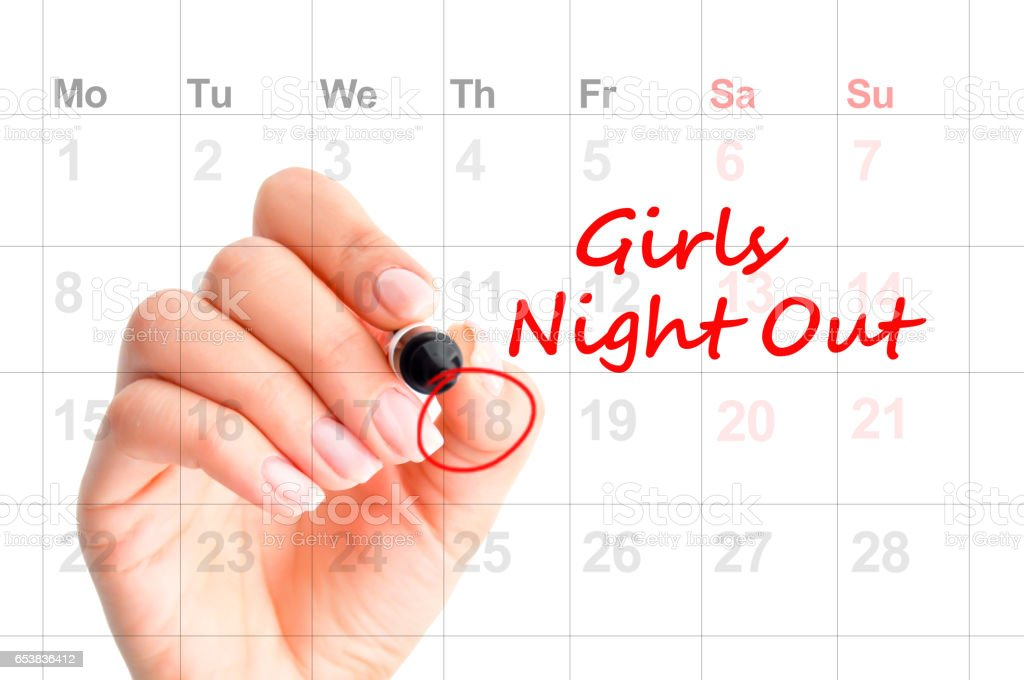 A date for Girls Night Out – reminder on personal agenda stock photo
