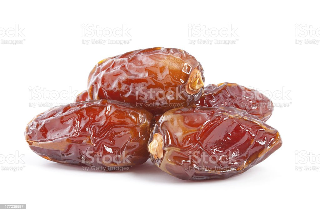 Date fruit isolated on white background. stock photo