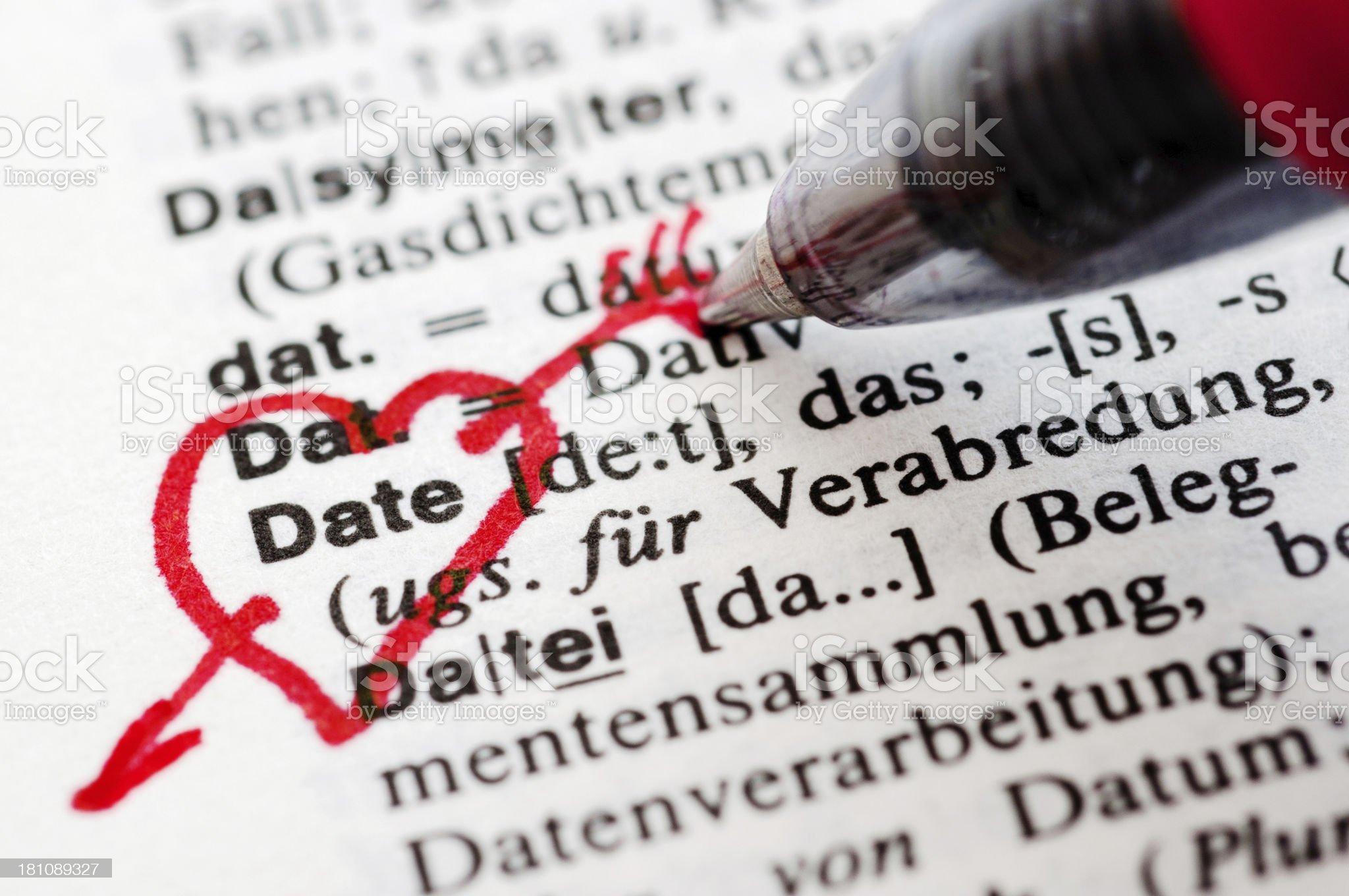 Date - German word drawing royalty-free stock photo