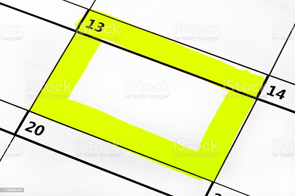 Date Highlighted on a Calendar royalty-free stock photo