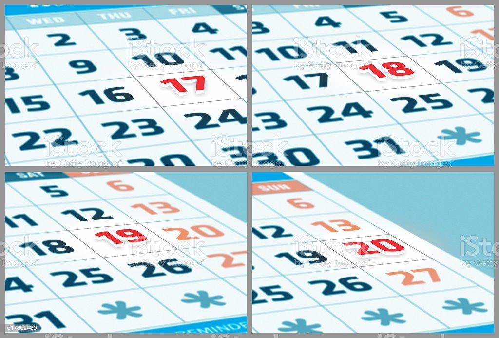 Date in focus stock photo