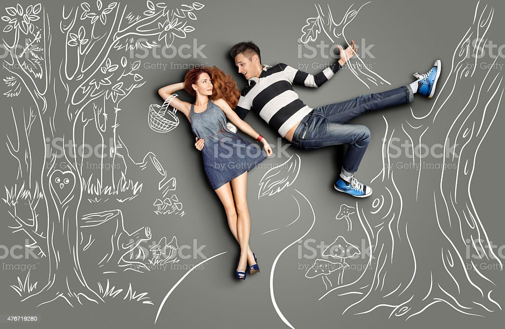 Date in woods. stock photo