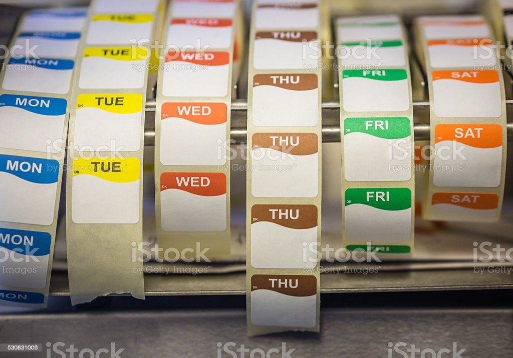Date labels stock photo