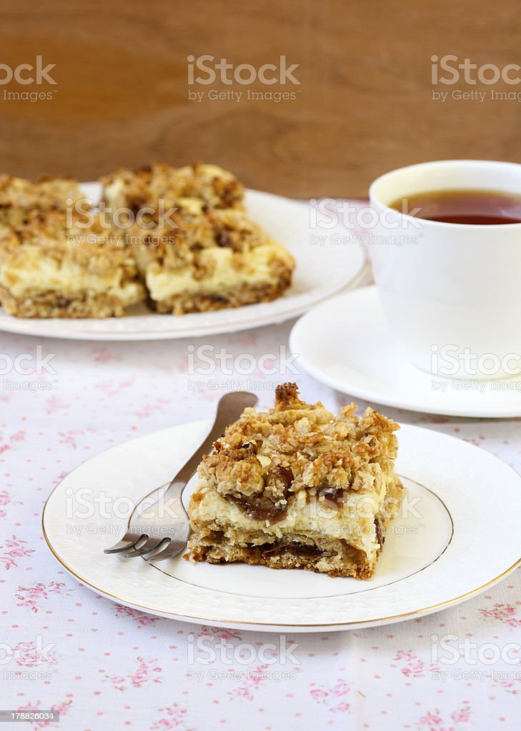 Date, oatmeal bars with cheese filling stock photo