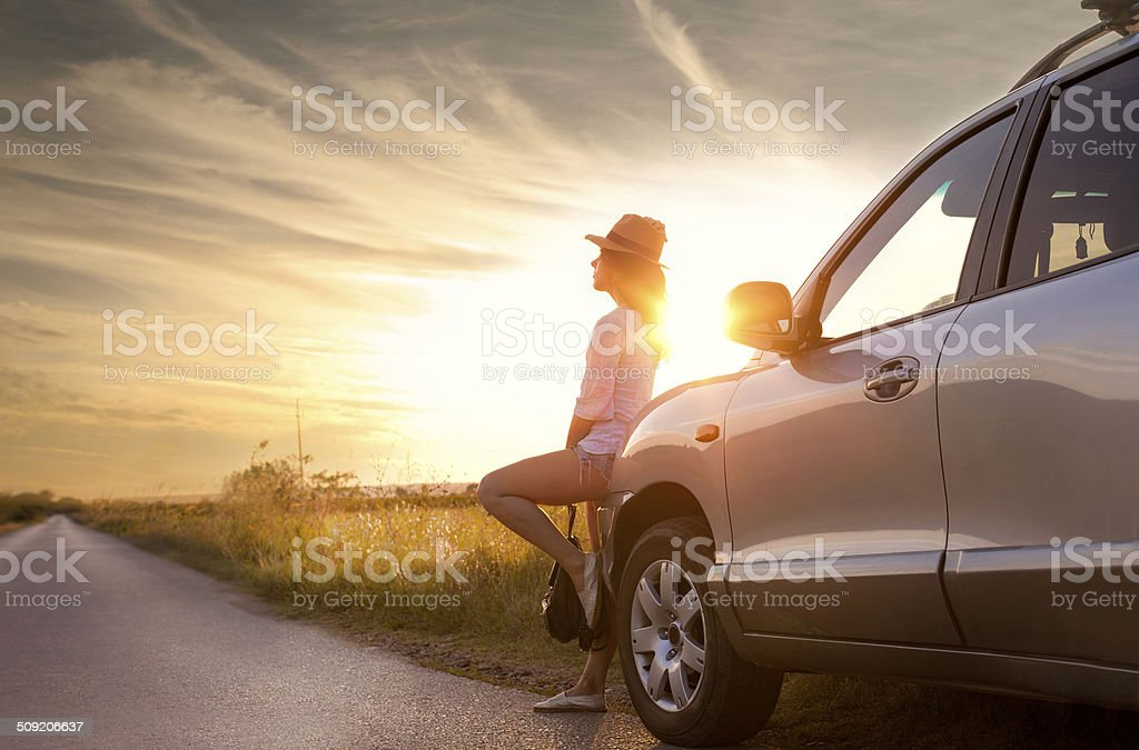 Date on a sunset stock photo