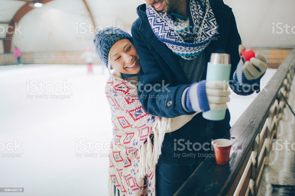 Date on ice-skating rink stock photo