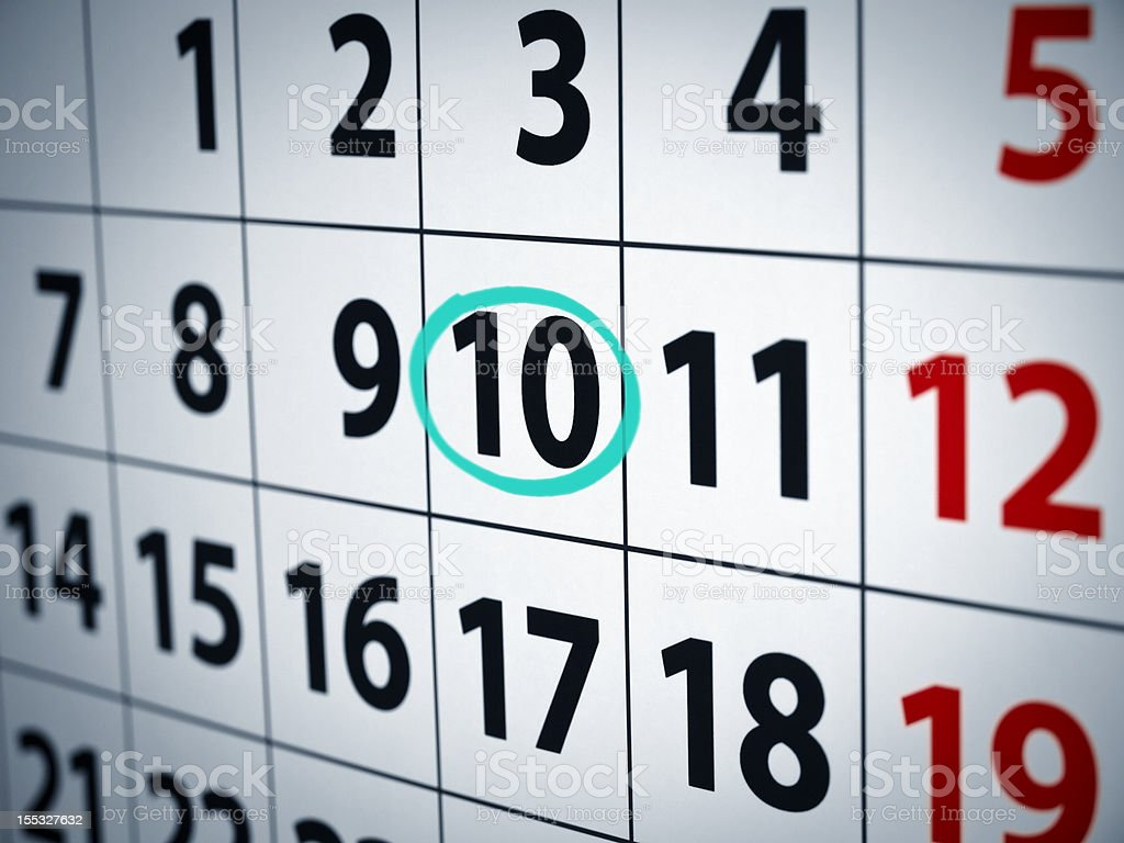 Date on the 10th royalty-free stock photo
