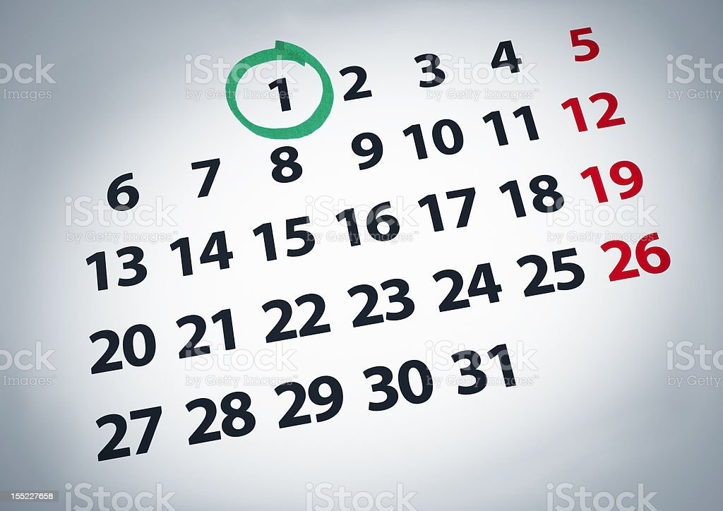 Date on the 1st royalty-free stock photo
