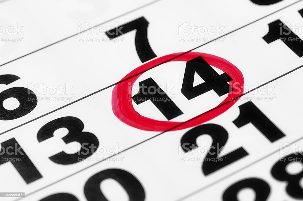 Date on the calendar in red marker stock photo
