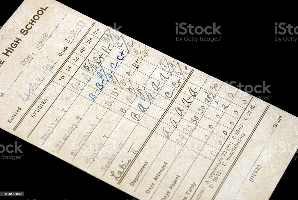 Dated 1928 Report Card stock photo