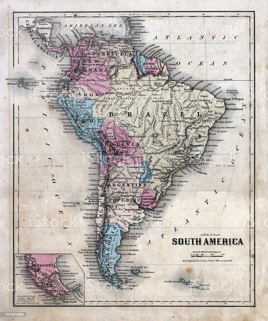 dated and faded south america map royalty-free stock photo