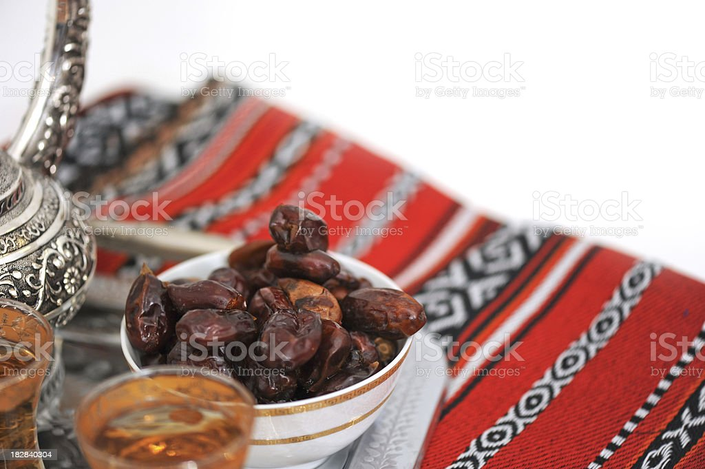 Dates and tea for Ramadan royalty-free stock photo
