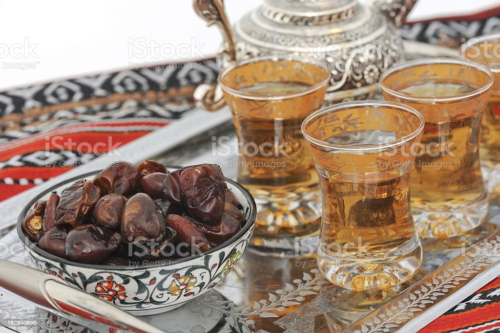 Dates and tea for Ramadan stock photo