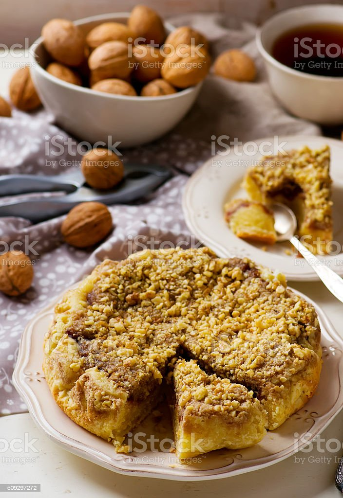 dates cake with crumb stock photo