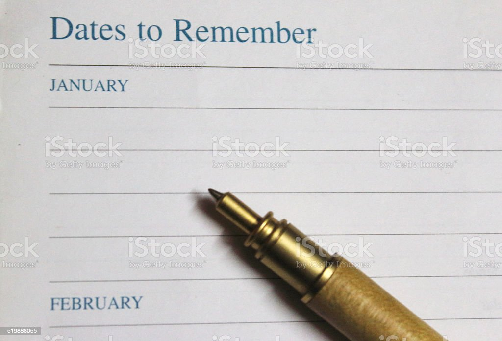 Dates to remember stock photo