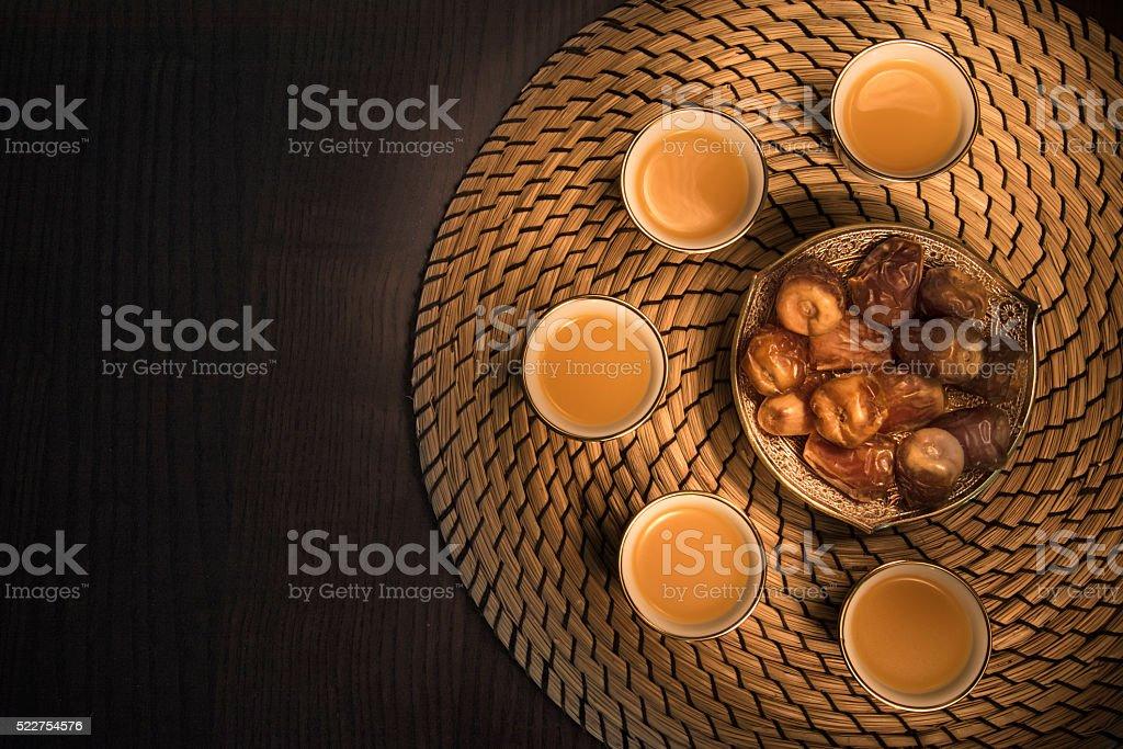 Dates with Arabian coffee stock photo