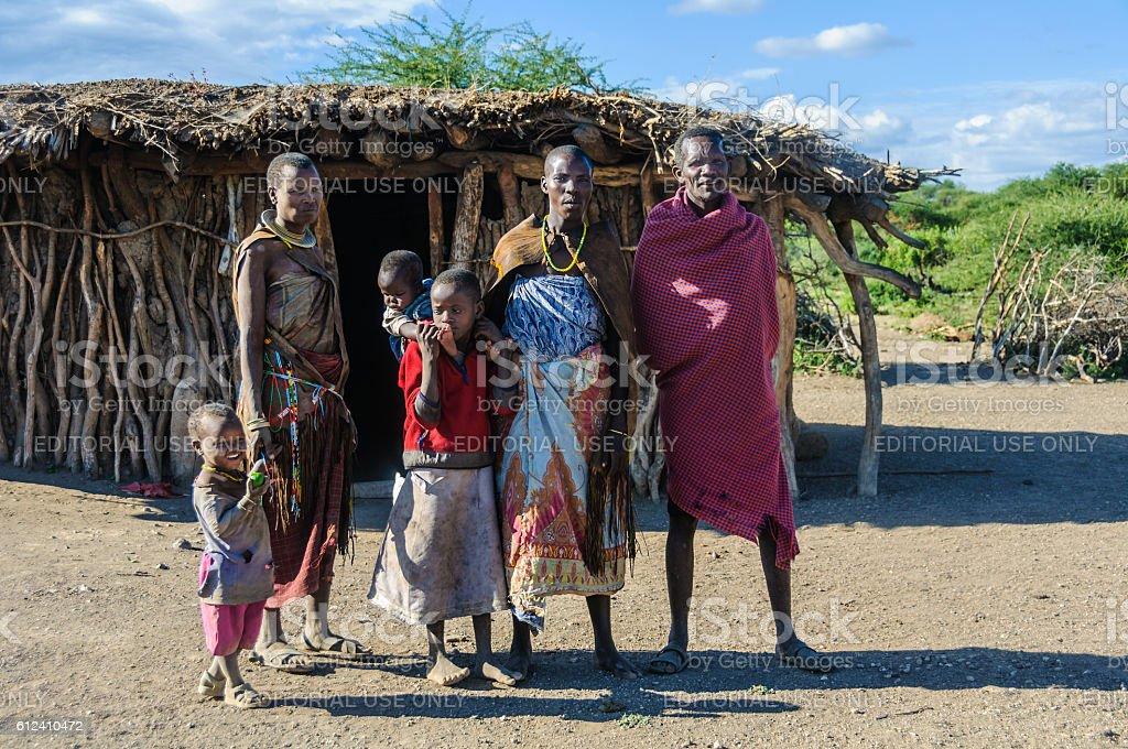 Datoga family at Lake Eyasi, Tanzania stock photo
