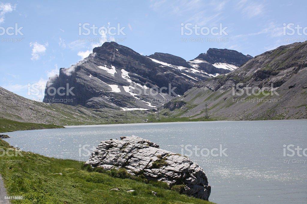 Daubensee lake and mountain stock photo