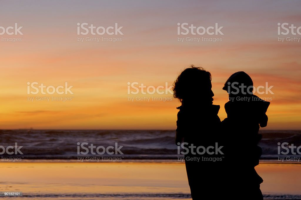 Daughter and mother at sunset 3 royalty-free stock photo