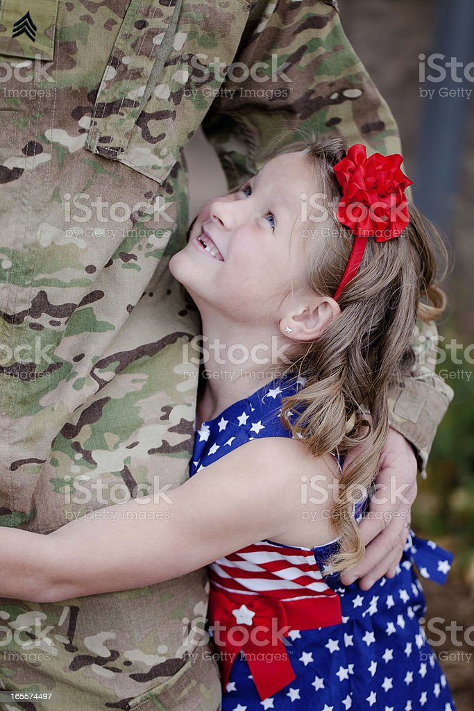 Daughter and Soldier stock photo