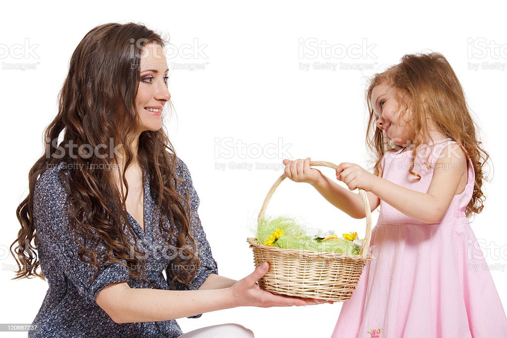 Daughter, mom and Easter basket royalty-free stock photo