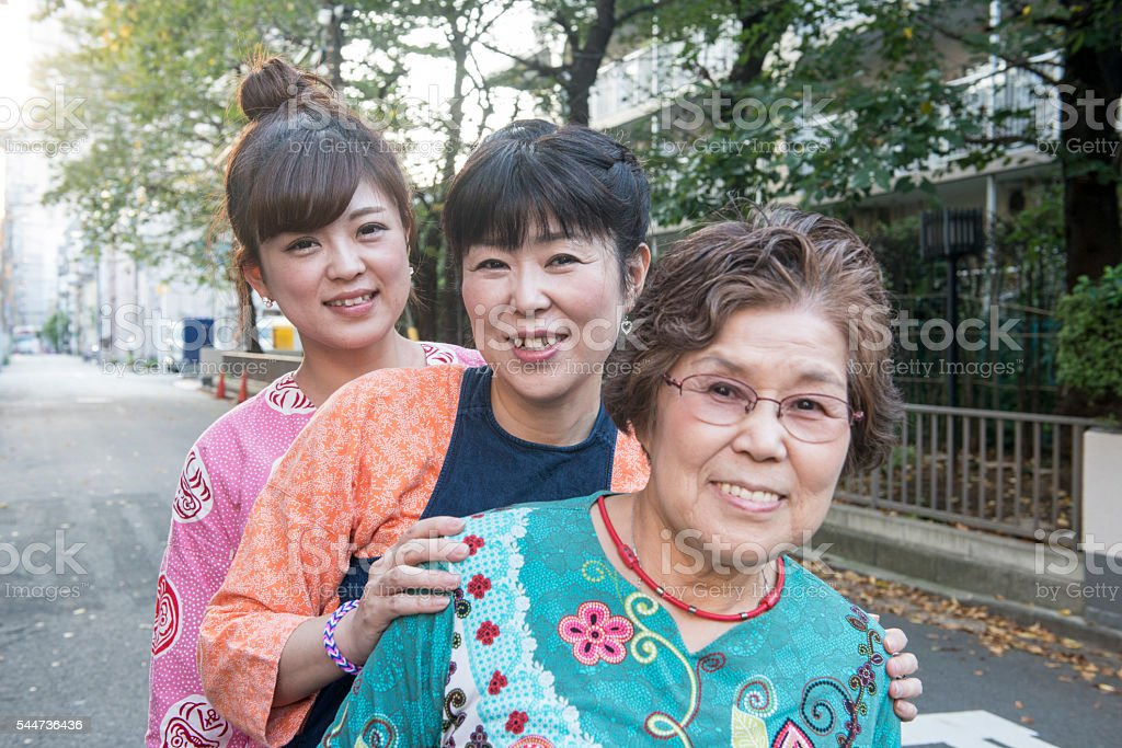 Daughter, mother and grandmother. stock photo
