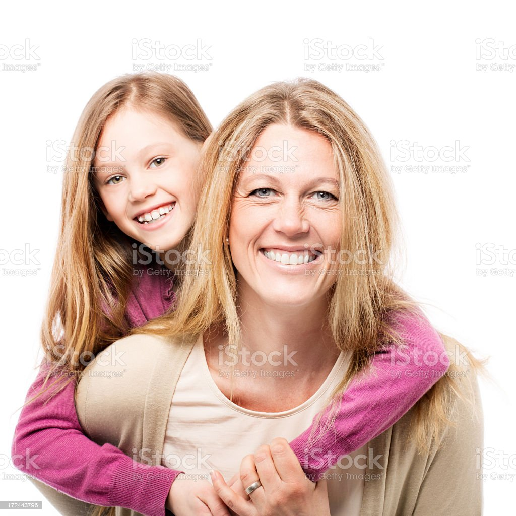 Daughter on her mother's back royalty-free stock photo