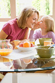 Daughter telling mother a secret during breakfast at home
