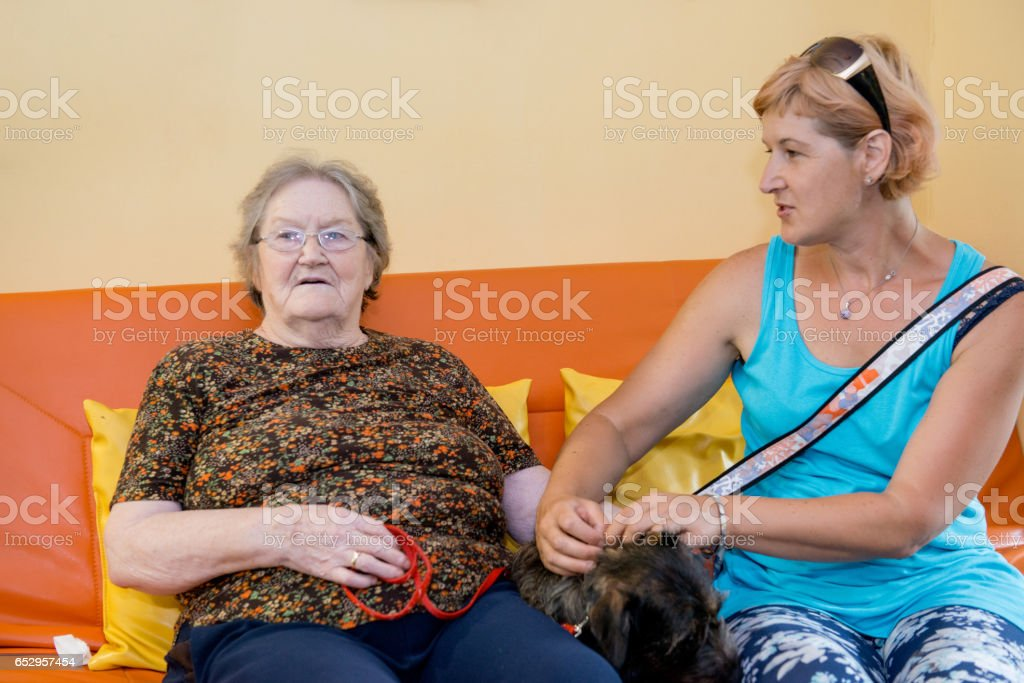 Daughter Visiting Her Mother In The Nursery Home stock photo