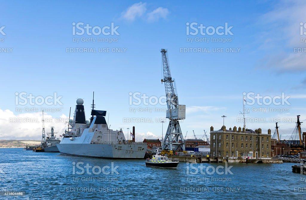 HMS Dauntless at Portsmouth dockyard royalty-free stock photo