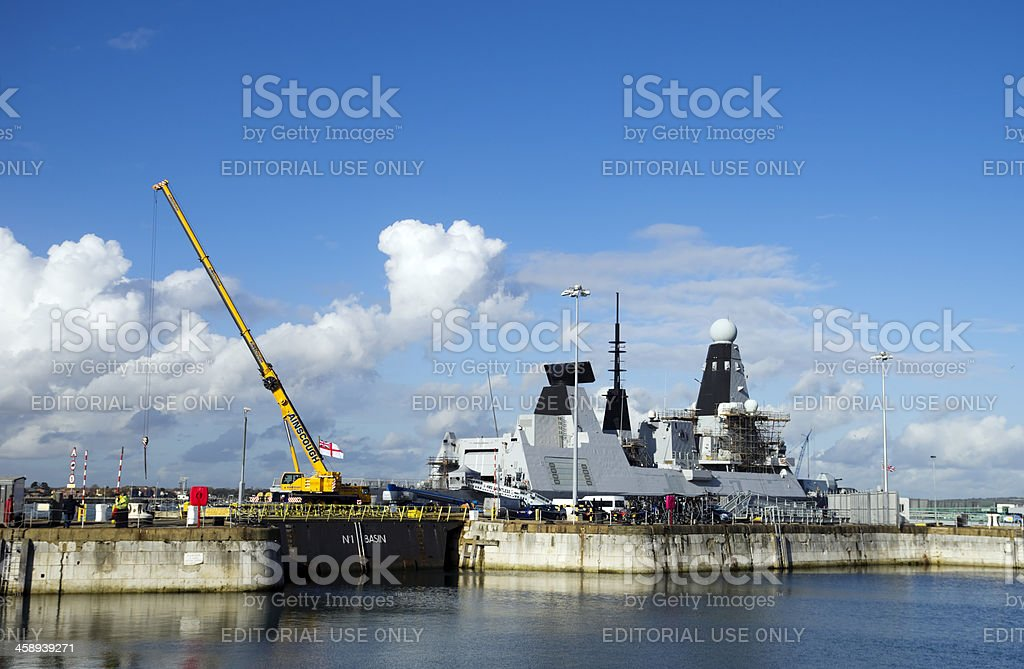 HMS Dauntless at Portsmouth stock photo