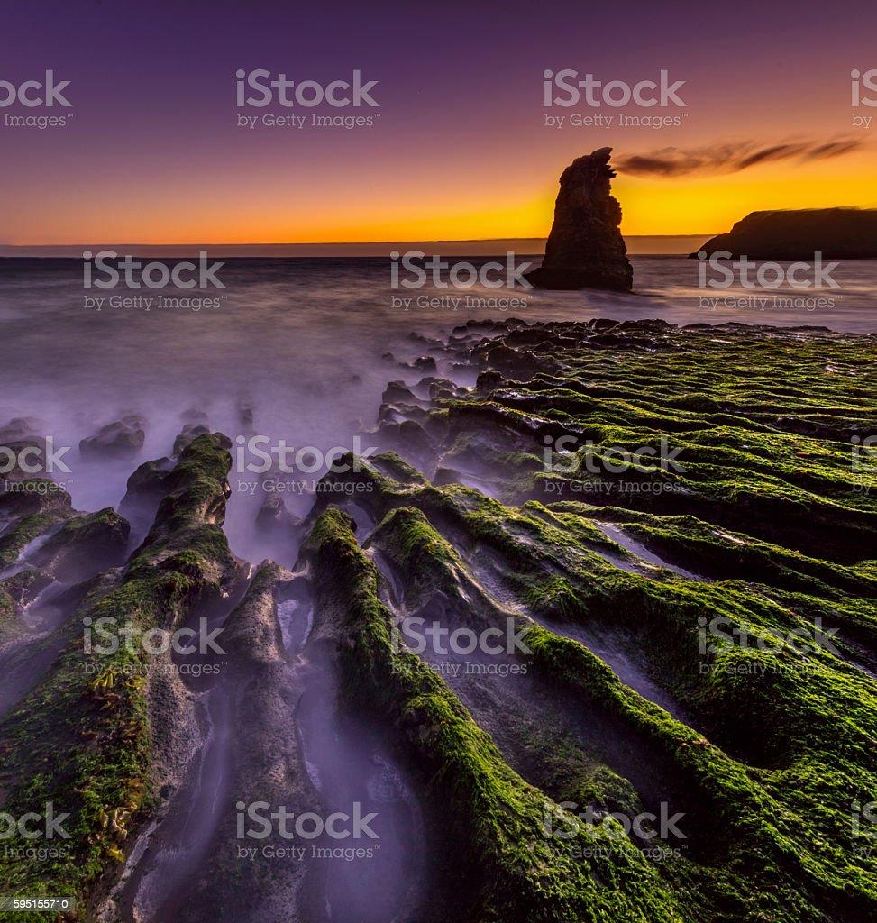 Davenport Beach at Sunset near San Francisco stock photo
