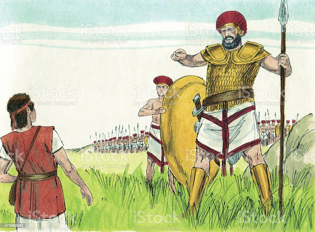David and Goliath stock photo