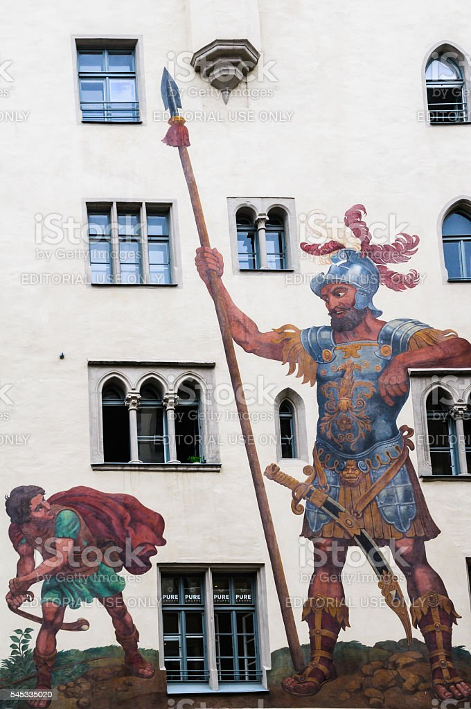 David and Goliath stock photo
