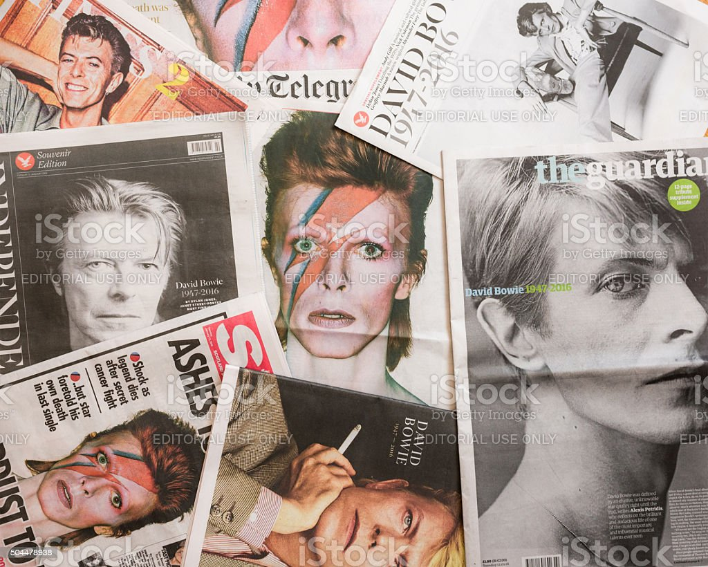 David Bowie tributes on British newspaper front pages. stock photo