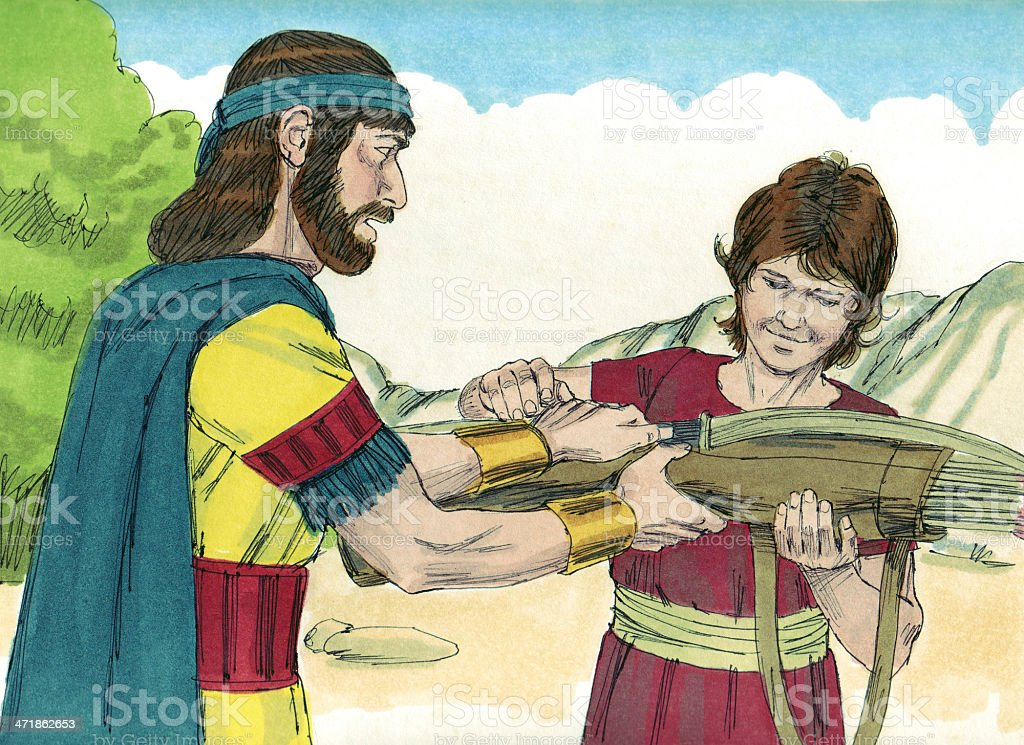 David Sees Jonathan Give Weapons to Boy royalty-free stock photo