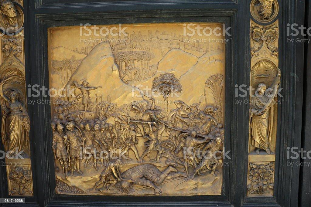 David slays Goliath. Gates of Paradise San Giovanni Baptistery, Florence stock photo