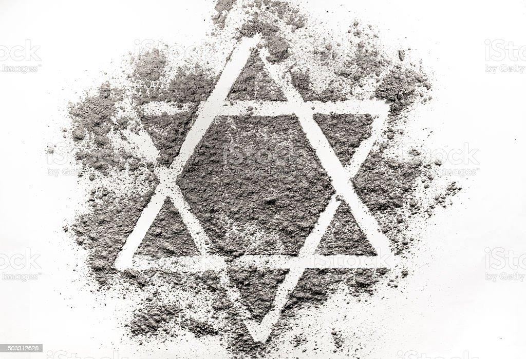 David star made of ashes stock photo