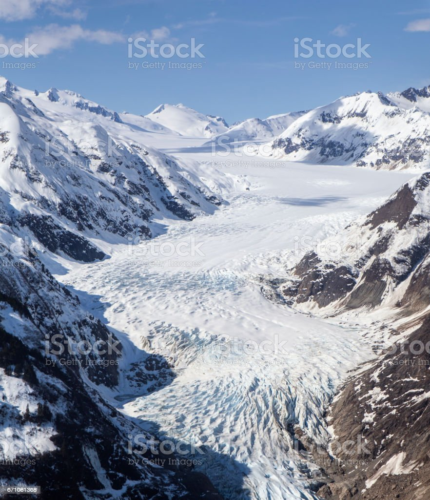 Davidson Glacier aerial stock photo