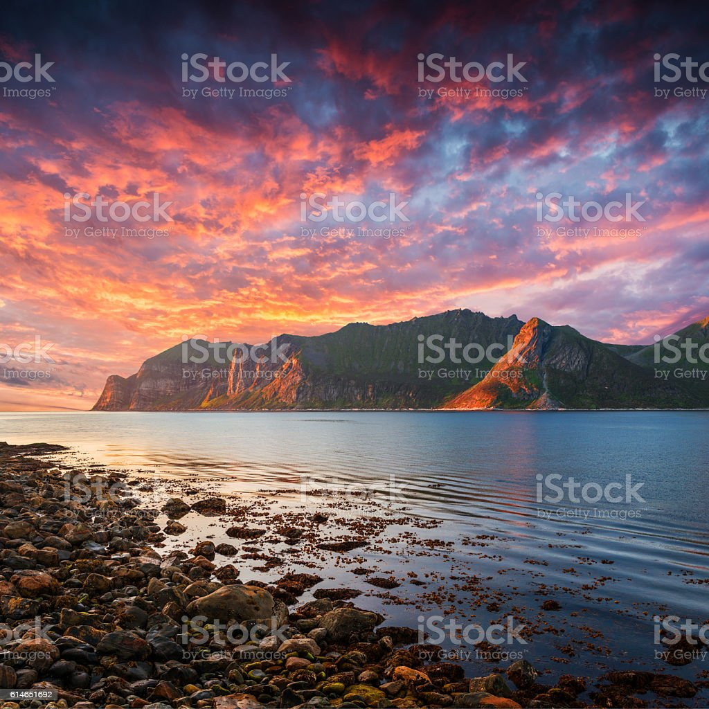Davil's Jaw. Norway,island Senja stock photo