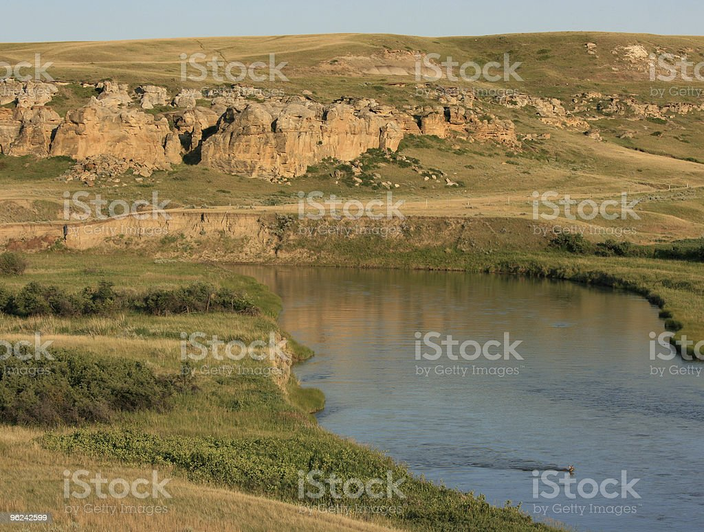 Davis Coulee and Milk River with Deer stock photo