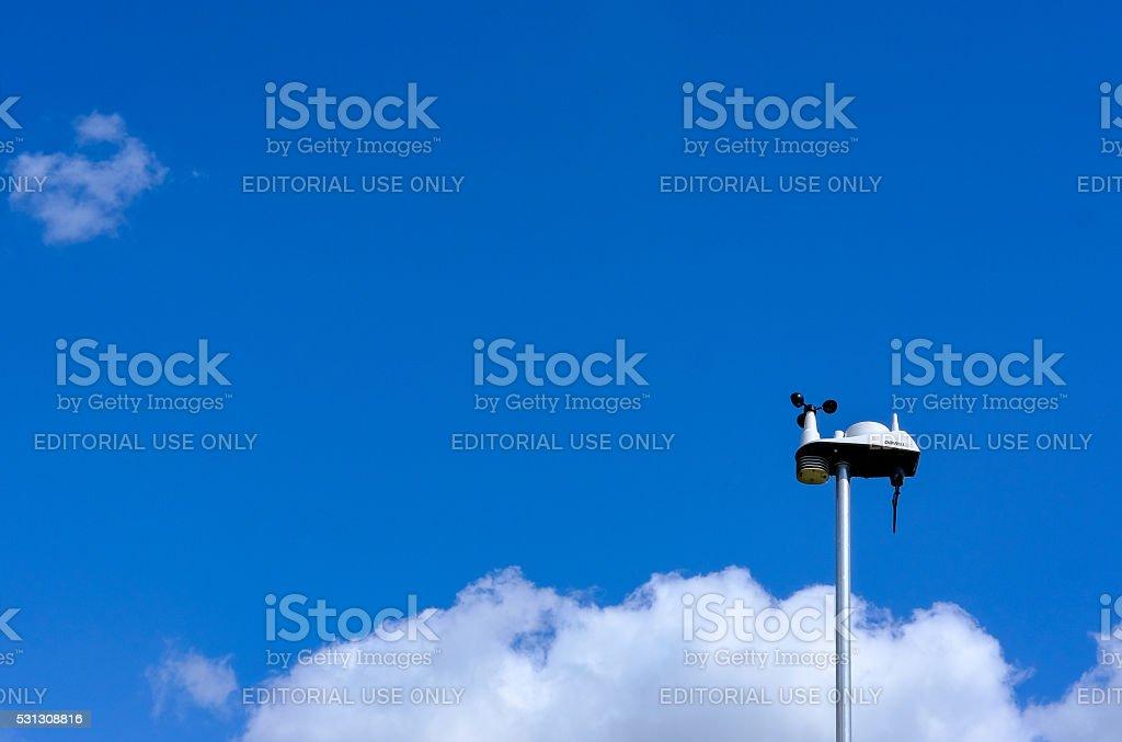 Davis VantageVue Weather Station on a metal mast stock photo