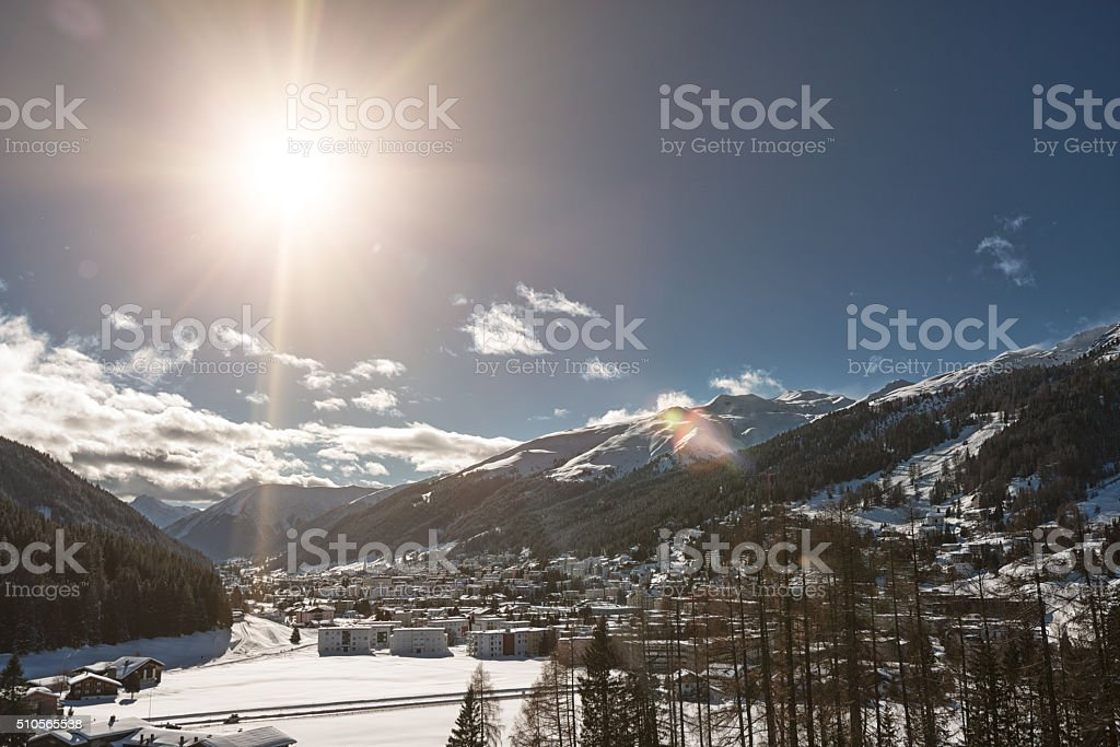 Davos in winter, Switzerland stock photo