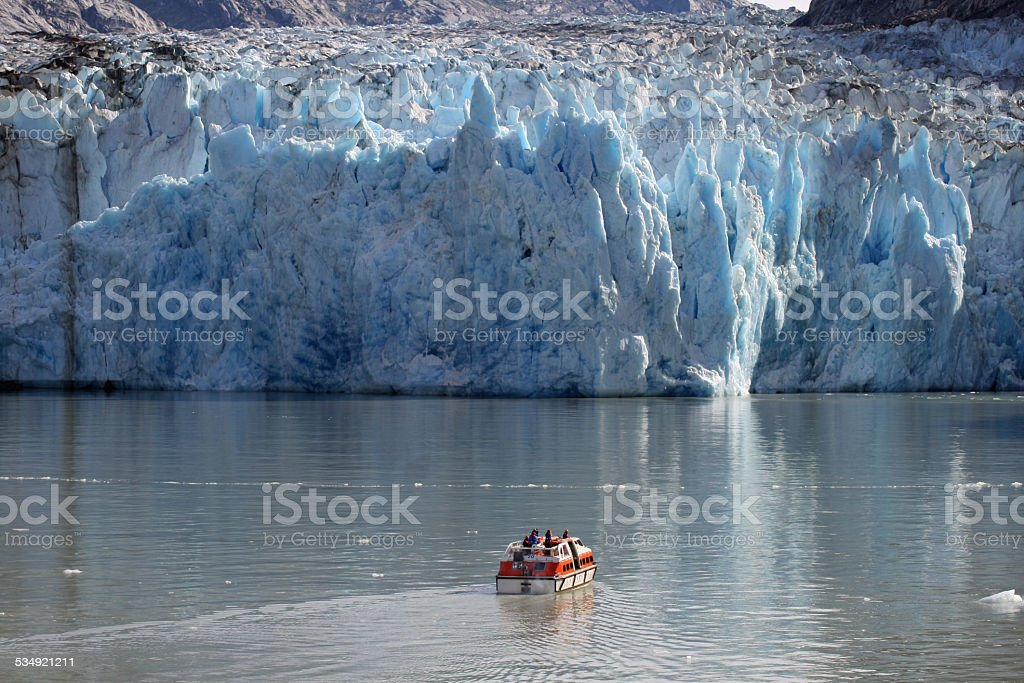 Dawes Glacier with Perspective stock photo