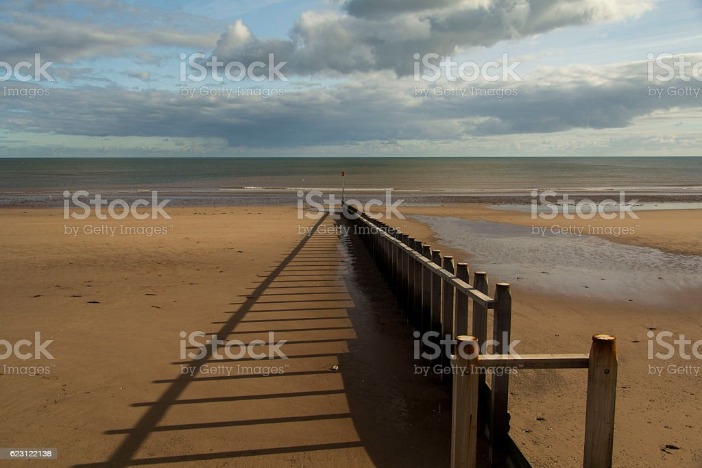 Dawlish Warren groyne stock photo