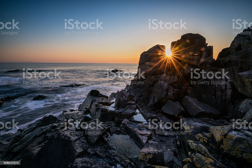 Dawn among the rocks stock photo