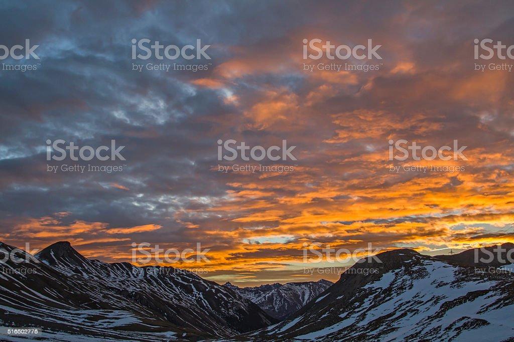 dawn at Albula stock photo