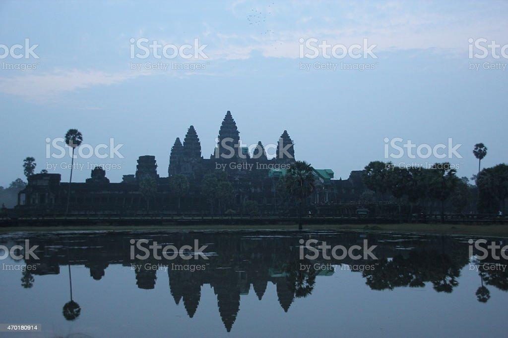 Amanecer en el templo de Angkor Wat, Camboya foto de stock libre de derechos